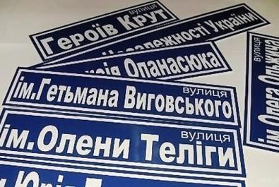 Перейменовано назви вулиць